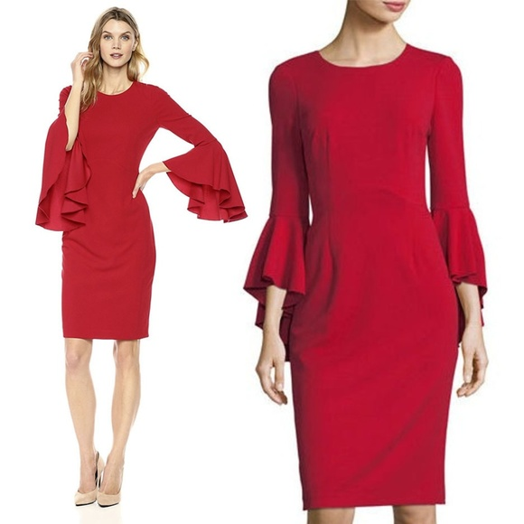 6c2ec670d0fd Maggy London Dresses & Skirts - Maggy London Ruffle Bell Sleeve Red Dress  Size 8